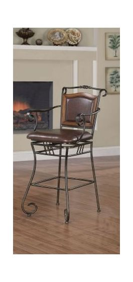 """29"""" Metal Bar Stool with Wood in Black and Brown"""