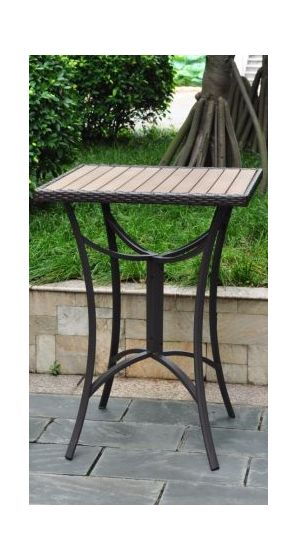 Barcelona 32 inch Square Resin Wicker Bar Table in Chocolate