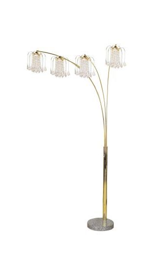 Crystalline Floor Lamp with Marble Base in Gold