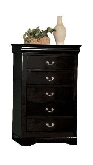 Louis Philippe Black 5-Drawer Chest
