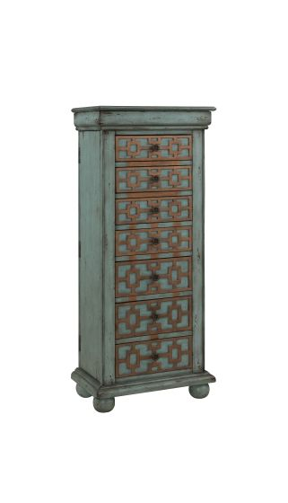 Jewelry Armoire Keller Blue with Gold