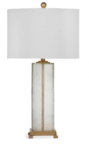Maroa Table Lamp in Clear Glass w & Gold Leaf