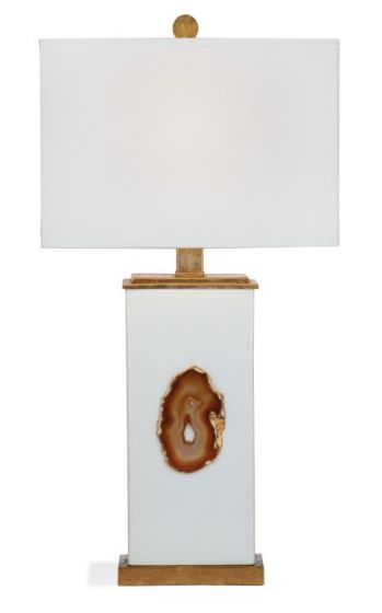 Arielle Table Lamp in White w &  Gold Leaf