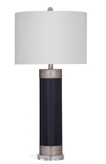 Lucie Table Lamp in Black & Silver Leaf