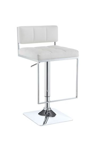 Adjustable Bar Stool in White and Chrome