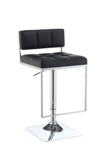 Adjustable Bar Stool in Black and Chrome