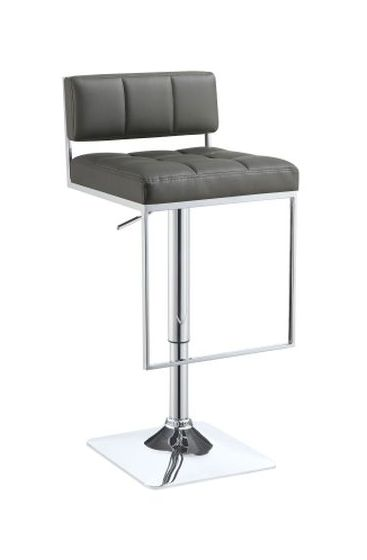 Adjustable Bar Stool in Gray and Chrome