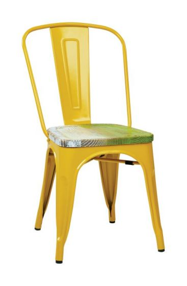Bristow Metal Chair with Vintage Wood Seat in Yellow