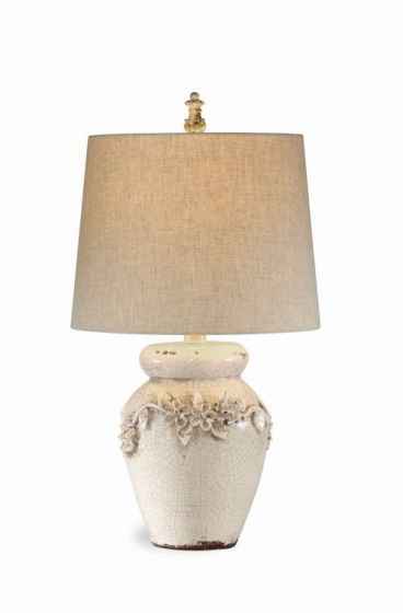 Eleanore Table Lamp  in Crackled Ivory Ceramic