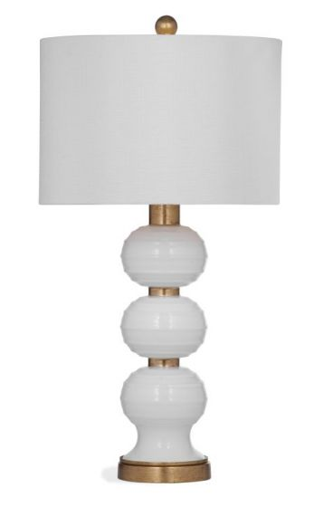 Willa Table Lamp in White w & Gold Leaf