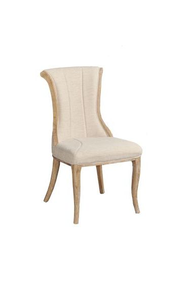 Sheffield Linen Flared Back Dining Chair in Light Brown