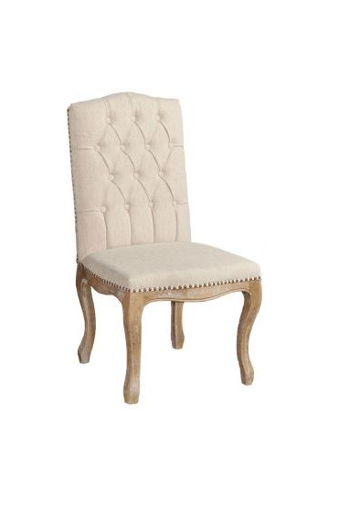 Portsmouth Linen Square Back Dining Chair in Light Brown
