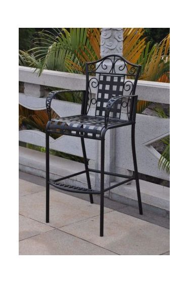 Set of 2 Mandalay Iron Bar Height Chair in Antique Black