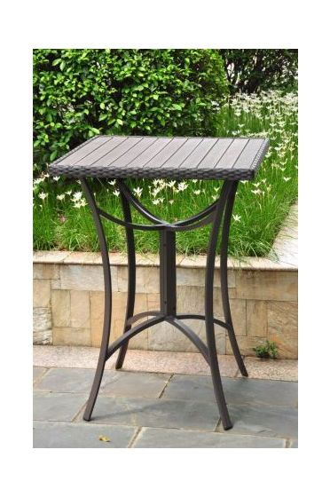 Barcelona 32 inch Square Wicker Bar Table in Black Antique