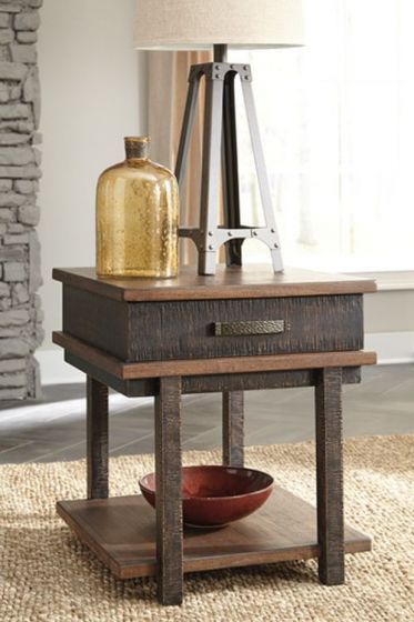 Stanah Rectangular End Table in Two-tone
