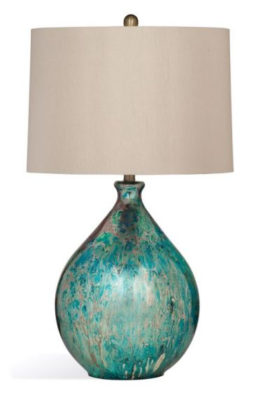 Mira Table Lamp in Blue Mercury Glass