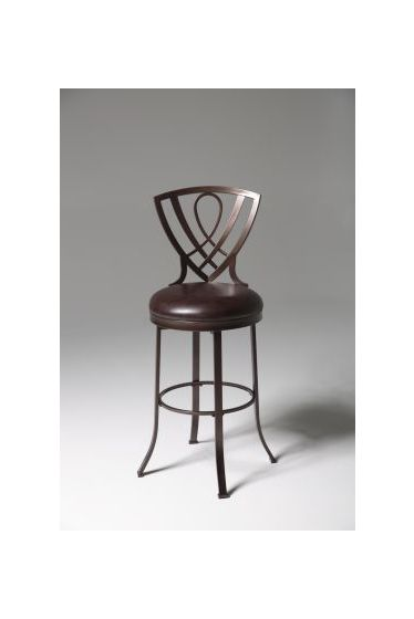 Lincoln Metal Barstool with Upholstered Swivel Seat