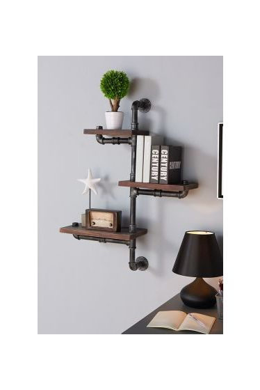 30'' Orton Industrial Walnut Wall Shelf in Silver Finish