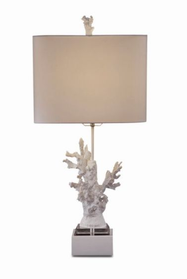 White Coral Table Lamp  in High Gloss White