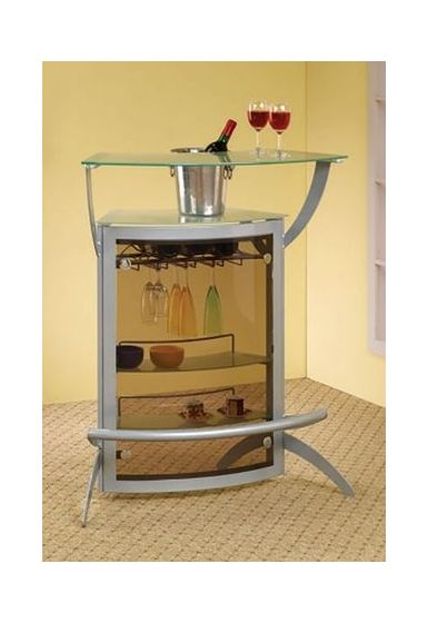 Glass Top Modular Bar Unit with Silver Metal Base