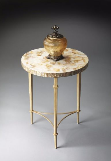 Cream Cabibe Shell 3-Legged Accent Table