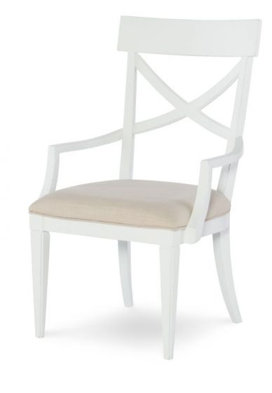 Upstate X-Back Arm Chair In Bianco