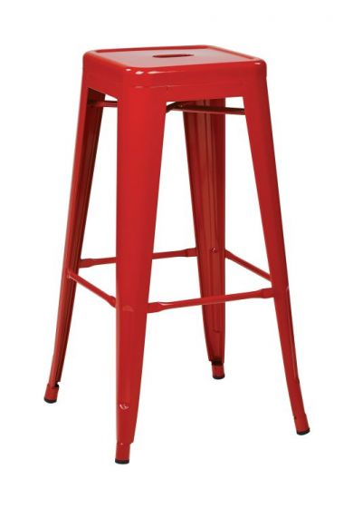 30'' Steel Backless Barstool in Red
