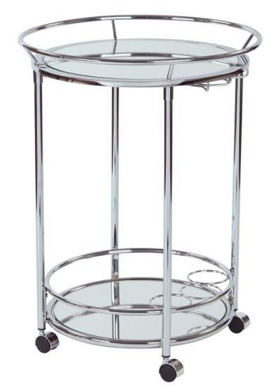 Royse Serving Cart in Chrome Finish
