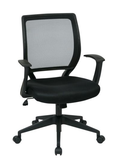 Screen Back Task Chair with ''T'' Arms in Black