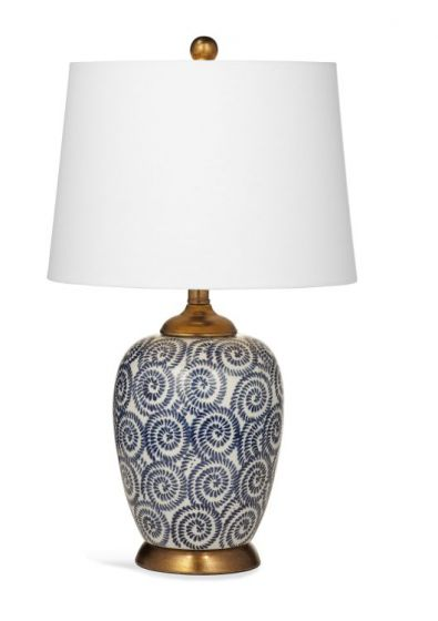 Lawton Table Lamp in Navy & White