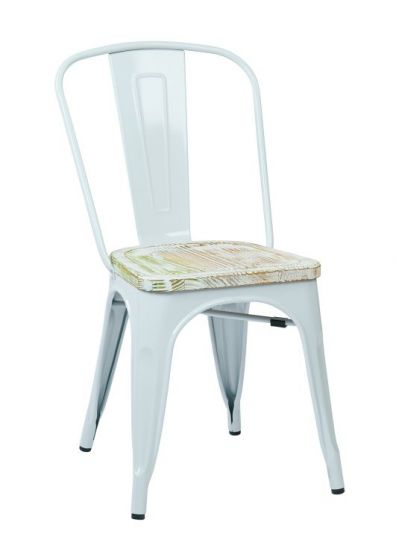 Bristow Metal Chair with Vintage Wood Seat in White