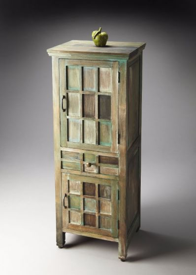 Whitewashed Water Color Acacia Wood Storage Cabinet