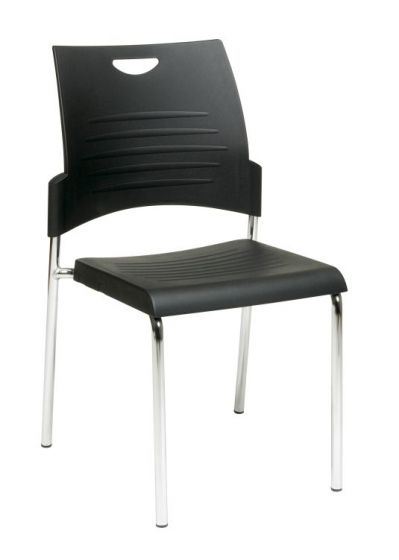 Straight Leg Stack Chair in Black