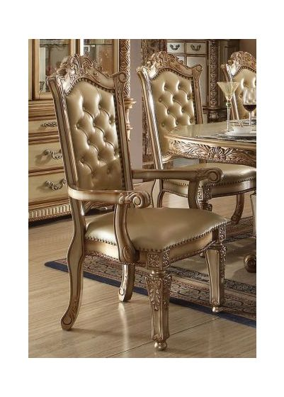 Vendome Arm Chair in Gold Patina & Bone PU