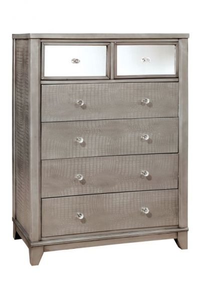 Robles Croc Textured 6-Drawer Chest in Silver