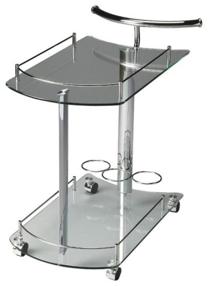 Penelope Clear Glass Serving Cart