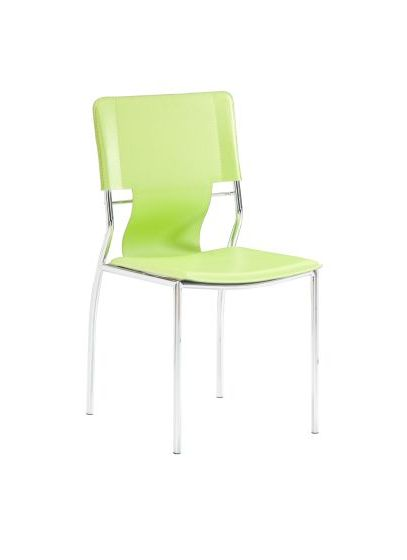 Trafico Dining Chair with Leatherette Seat in Green