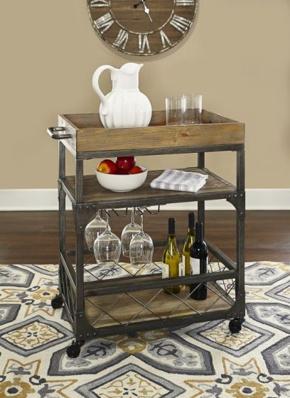 Collin Bar Cart  in Metal Wood