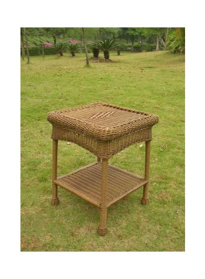 PVC Resin and Steel Outdoor Side Table in Mocha