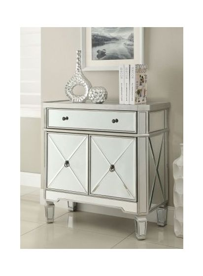 Mirror Accent Chest with Wine Rack in Silver