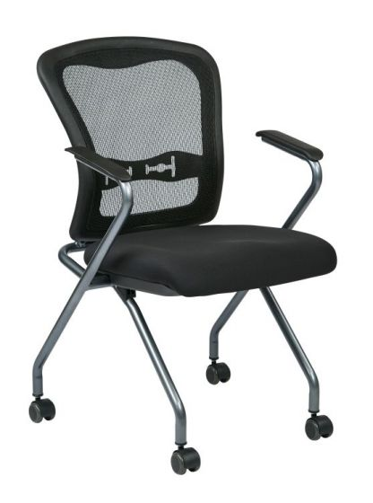 Deluxe Folding Chair with ProGrid Back in Coal