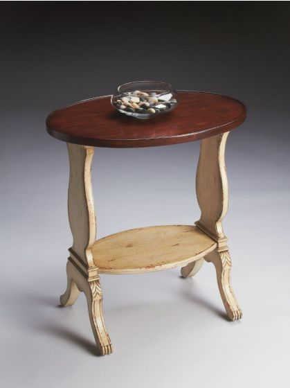 Briar Vanilla & Cherry Oval Accent Table