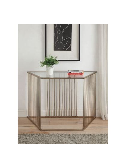 Oaklie Champagne Clear Glass Sofa Table