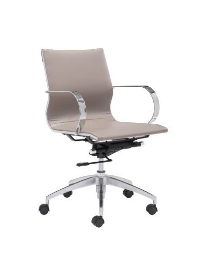 Modern Glider Low Back Office Chair Taupe