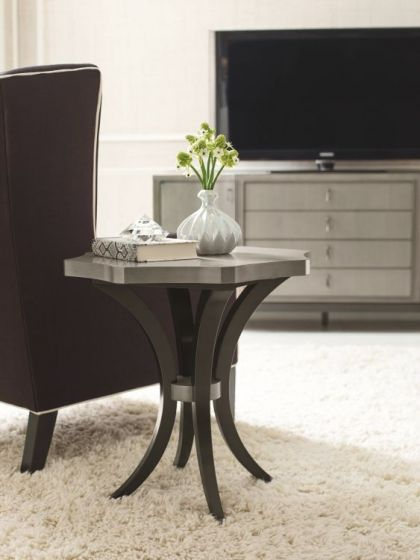 Symphony Round End Table In Platinum & Black Tie