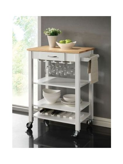 Kitchen Cart with Butcher Block Top in White and Natural