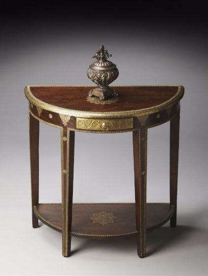 Krishna Carved Mango w/ Brass Detailed Demilune Table