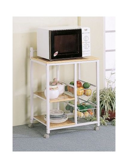 White Natural Shelves Storage Compartments Serving Cart