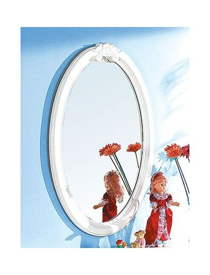 Flora Oval Mirror in White