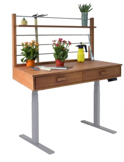 Sit to Stand Potting Bench with Natural Wood & Grey Frame